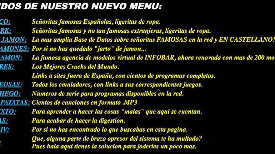 Menú de Viva el jamón y el vino disponible el 13 de octubre de 1999