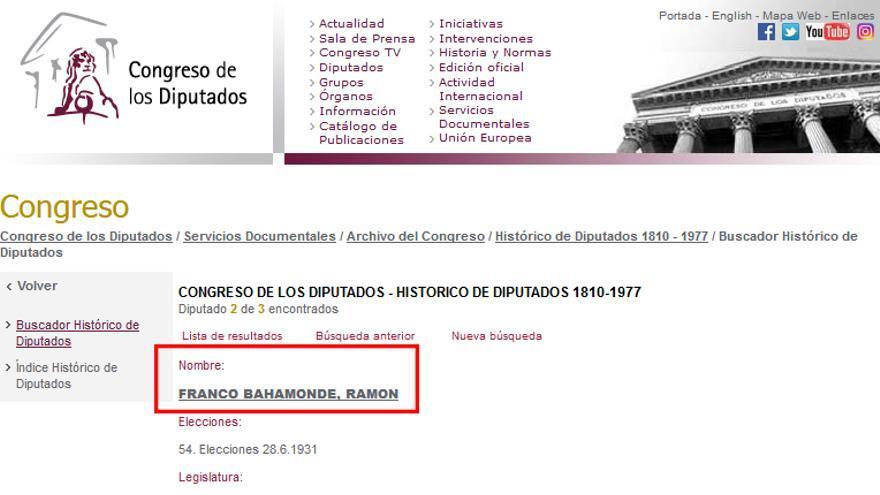 Ficha de Ramón Franco como diputado de ERC en el Congreso de los Diputados.