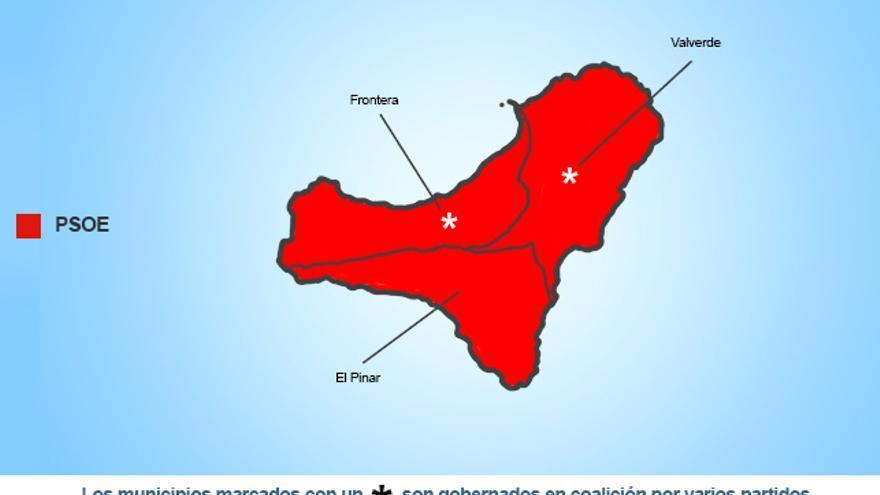 Mapa político de la isla de El Hierro.