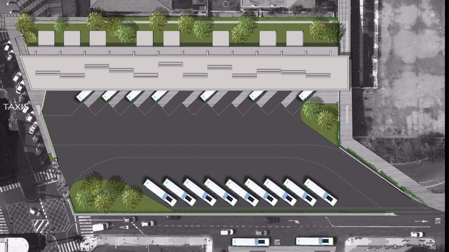 Infografía con el patio principal del futuro recinto de transporte