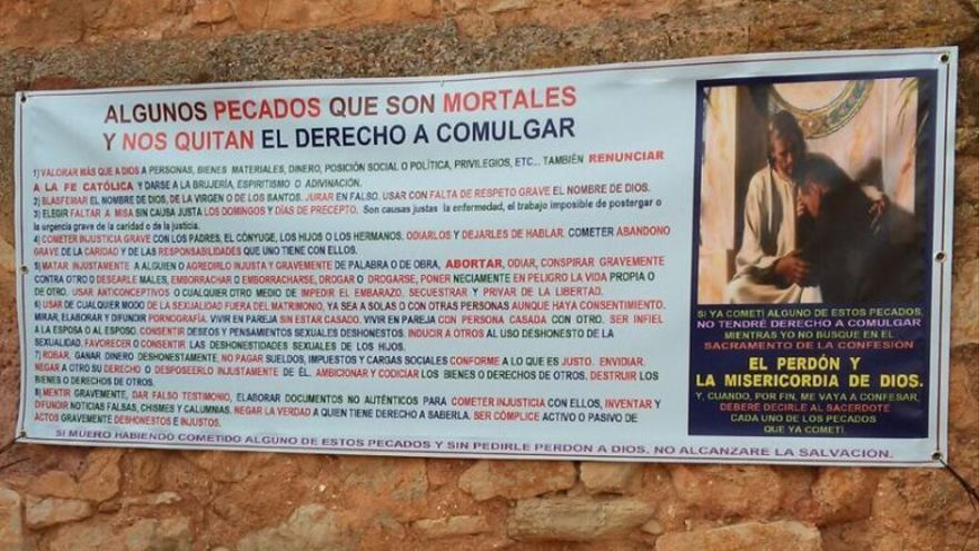 Pancarta pecados Viveros Albacete