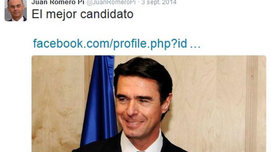 Mensaje de Juan Romero Pi en Twitter.
