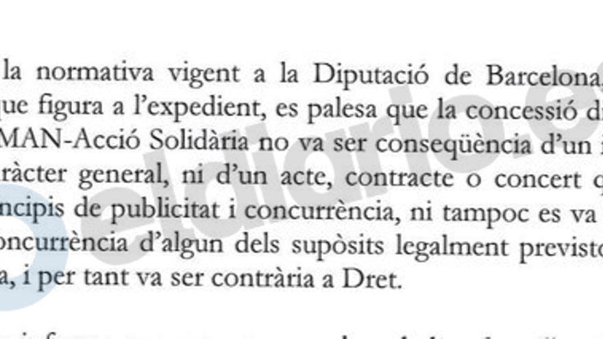 Extracto del informe de la Diputación sobre IGMAN