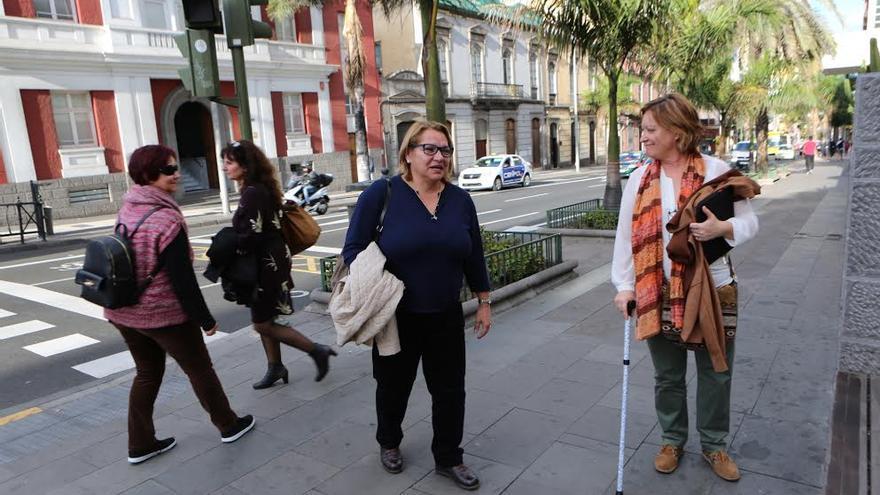 La secretaria general de Podemos en Canarias, Meri Pita y la secretaria de Organización, Conchi Moreno