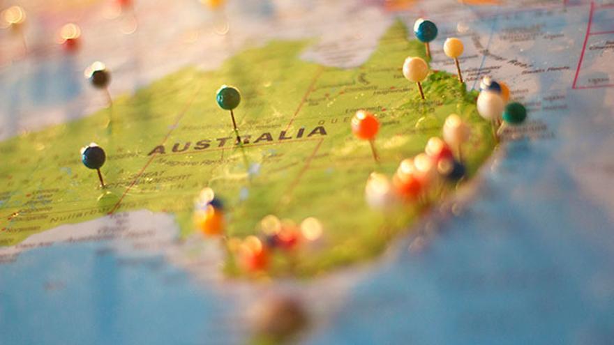 Mapa y destinos al preparar un viaje