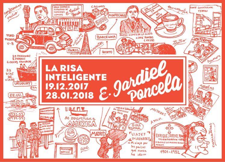 """Cartel exposición retrospectiva de Jardiel Poncela """"La risa inteligente"""""""