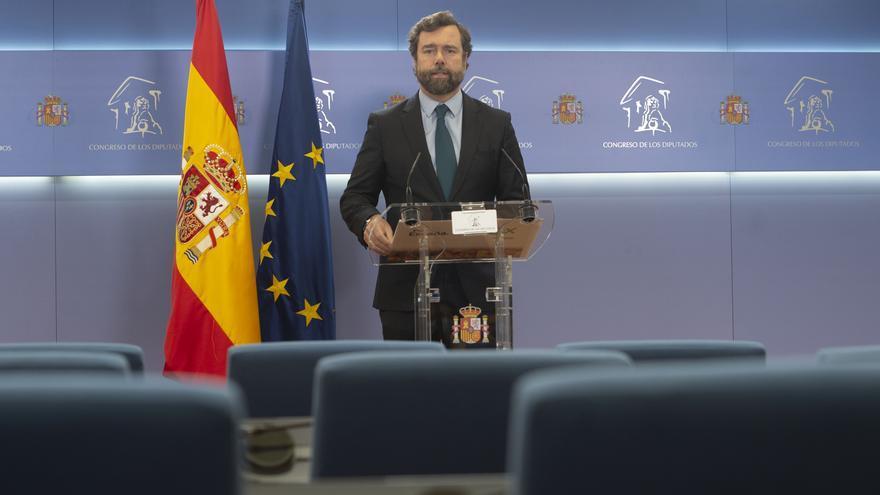 El portavoz parlamentario de Vox, Iván Espinosa de los Monteros, en rueda de prensa