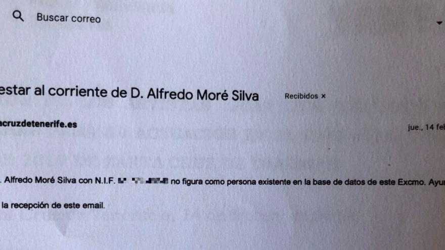 Correo electrónico, fechado el mismo día en el que el Ayuhamiento abonó  el primer pago por el concierto, en el que se informa de que el exclusivista de Juan Luis Guerra no figura en los archivos municipales como proveedor.