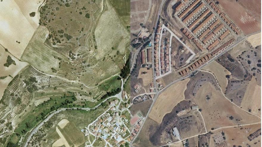 Yebes (Guadalajara) en 2002 y en 2012