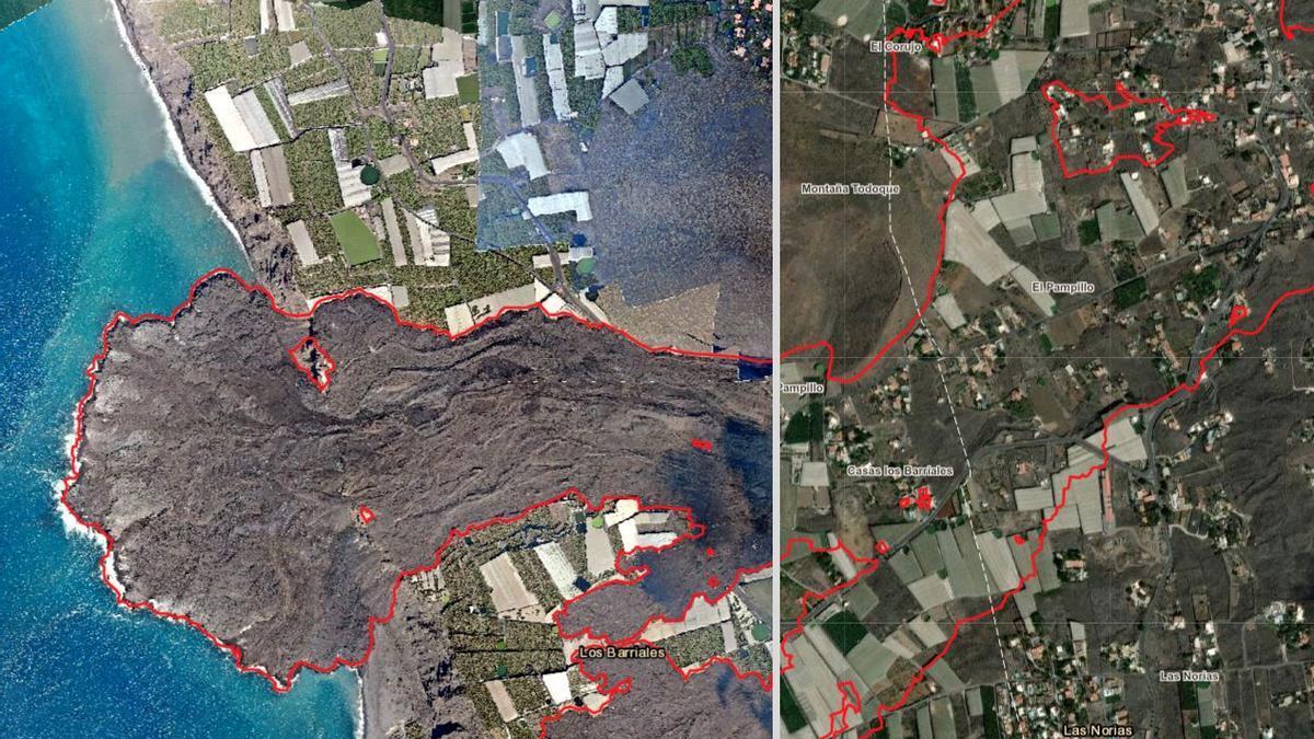 Mapa comparativo del Valle de Aridane tras la erupción del volcán en Cumbre Vieja