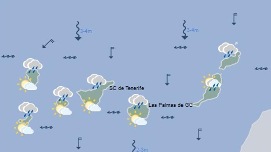 Mapa con la previsión del tiempo para este domingo, 18 de diciembre