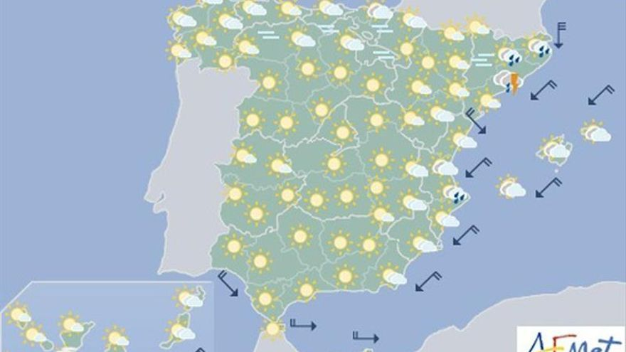 Hoy, inestabilidad y descenso de las temperaturas en el Mediterráneo