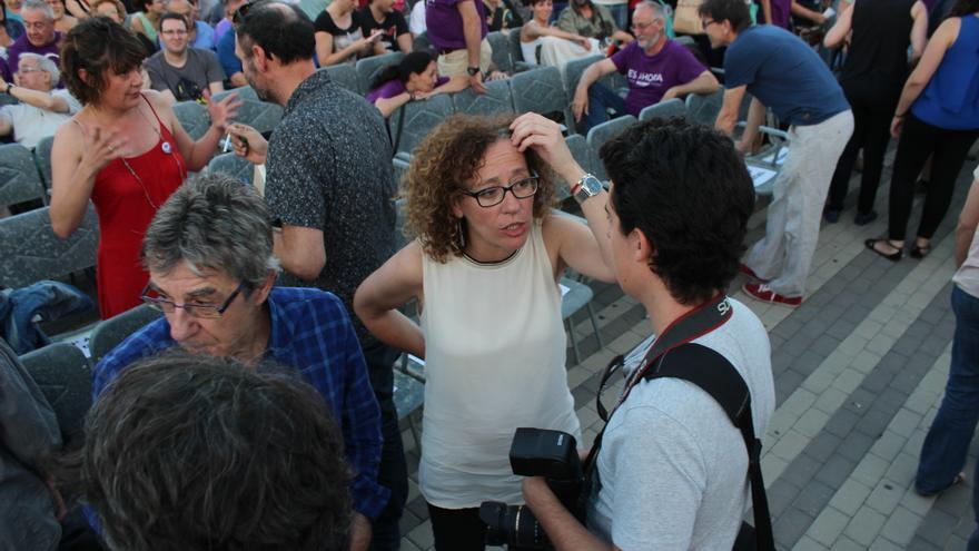 Alicia Morales, número 1 de la lista de Es Ahora Murcia, antes del mitin de Podemos