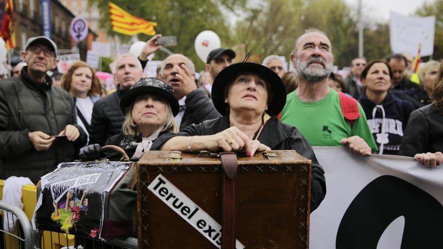 Una de las manifestantes de la 'España vaciada' en Madrid