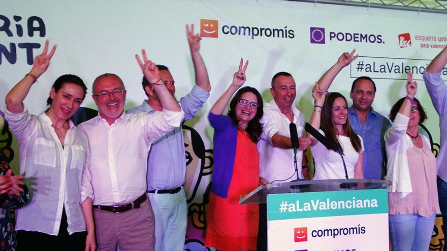 Representantes de Compromís, Podemos y Esquerra Unida en el comienzo de la campaña de 'la Valenciana' en el trinquete Pelayo