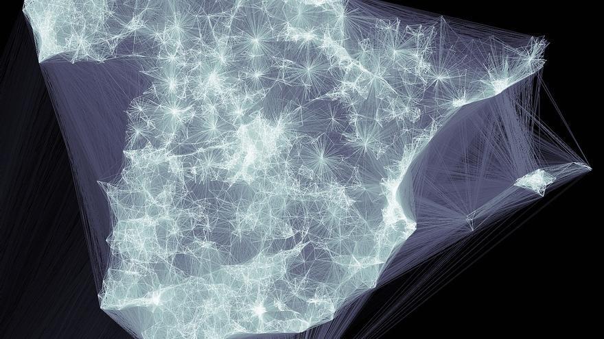 Flujo de interacciones en redes sociales en 2011 (Fuente: ONTSI)