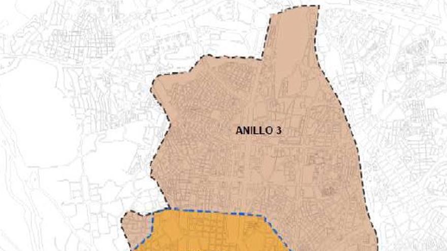 La cuatro áreas que marcan las distintas restricciones del plan de hospedaje del Ayuntamiento de Madrid.
