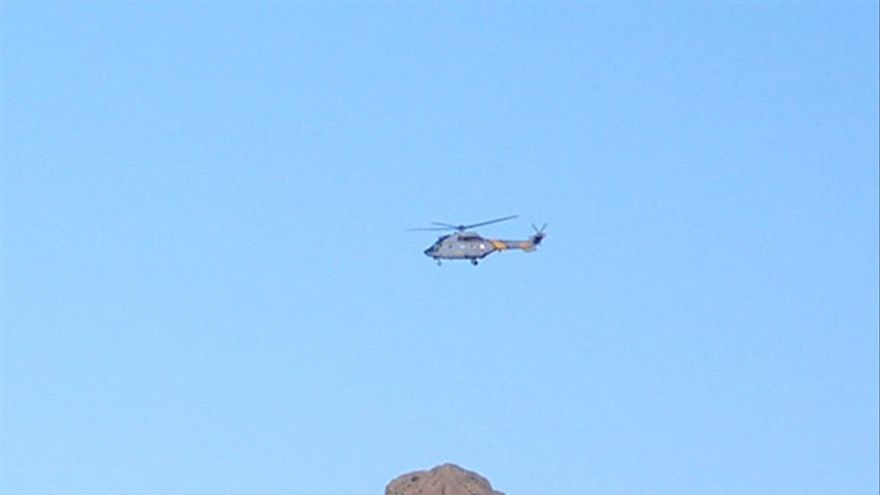 De un helicóptero posándose en el Tablón del Nublo #2
