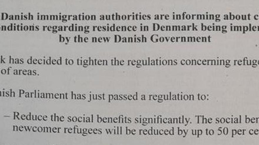 Comienzo del anuncio publicado por el Gobierno danés en Líbano.