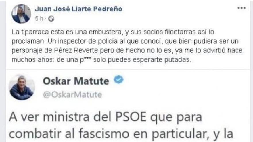 Captura del mensaje de Juan José Liarte, antes de ser eliminado