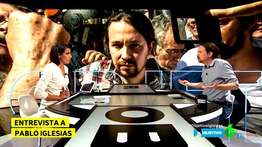Ana Pastor y Pablo Iglesias, anoche en el plató de 'El Objetivo'