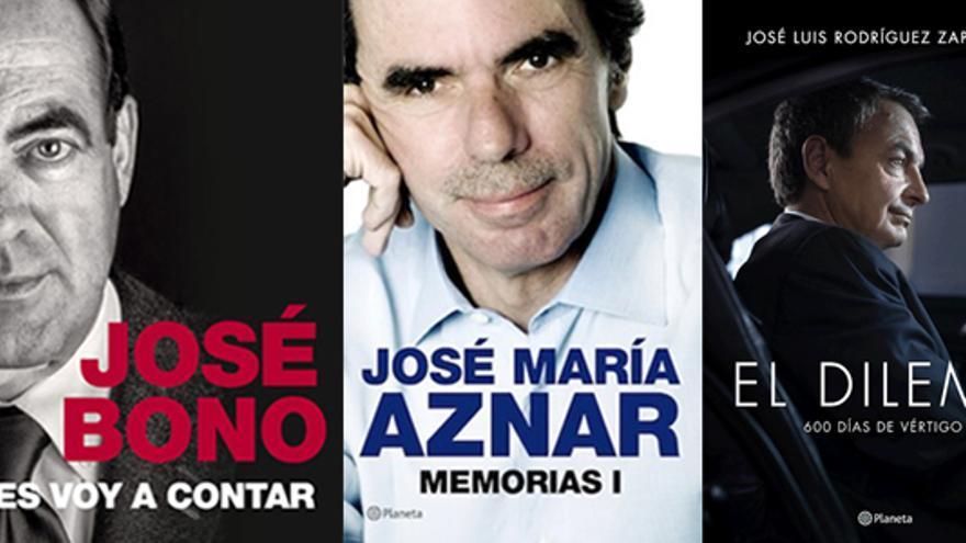 Las portadas de los libros biográficos de Bono, Aznar y Zapatero