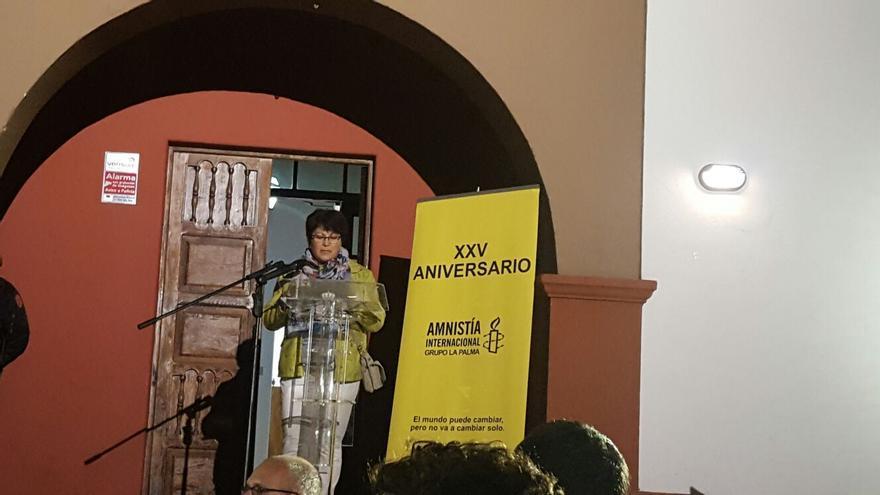 En la imagen, lectura del manifiesto en Fuencaliente.
