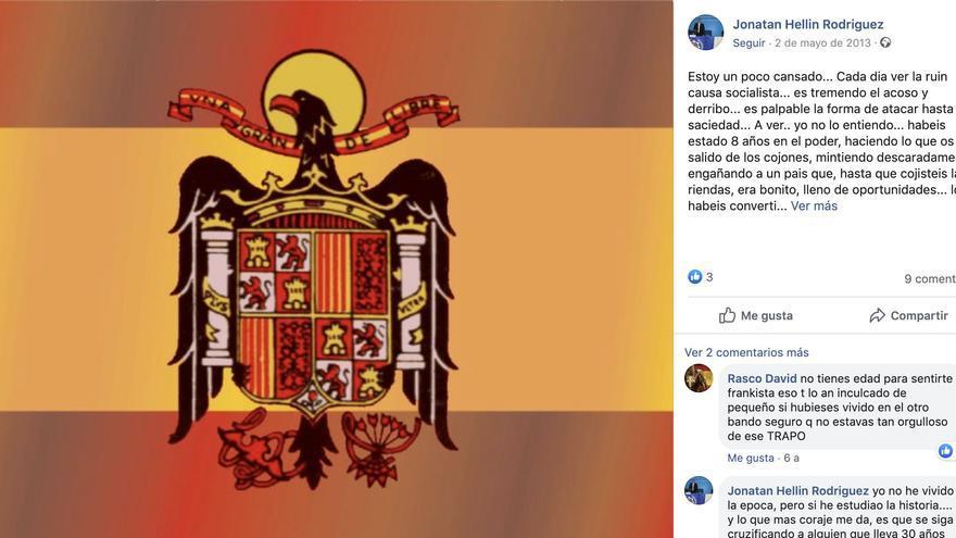 Publicación de Facebook del perito Jonathan Hellin.