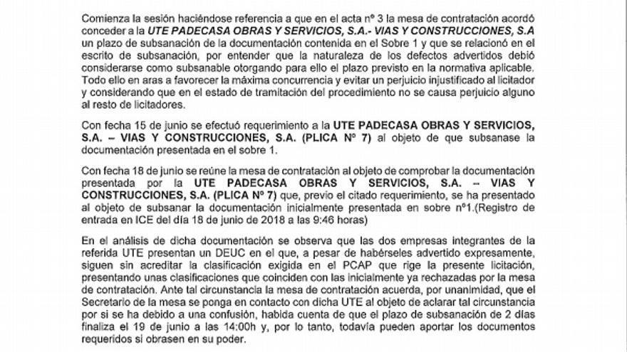 Acta número cuatro de la mesa de contrataciones. Junta de Castilla y León