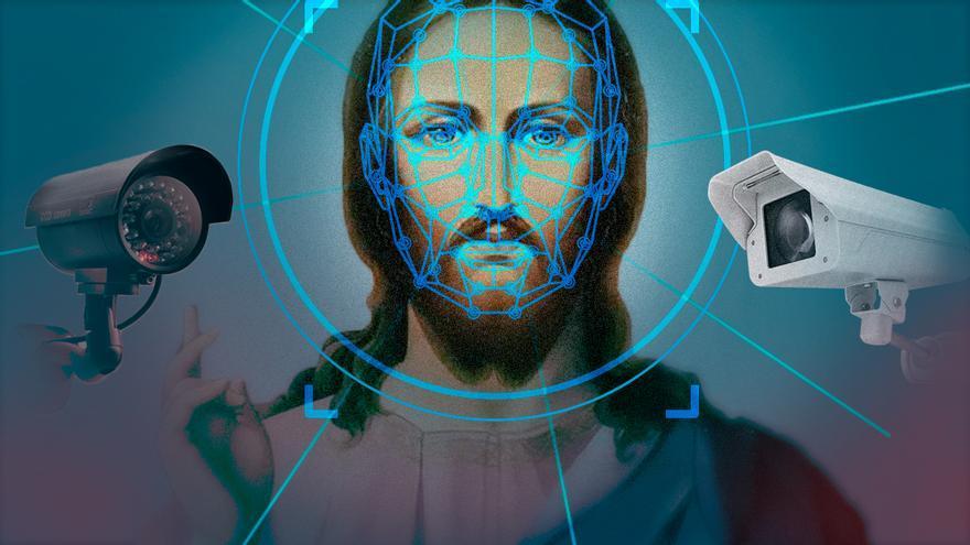 Montaje que muestra a Dios y la tecnología de reconocimiento facial