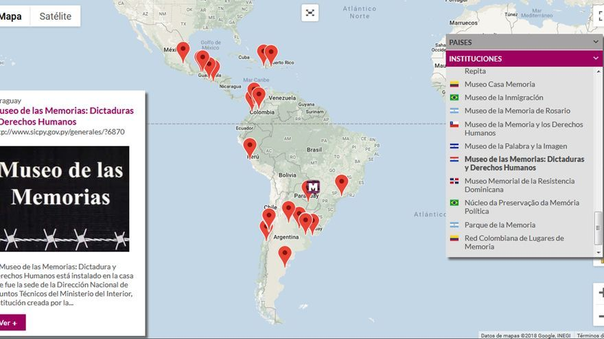 Mapa de los lugares memorialistas en la web de la Red de Sitios de Memoria Latinoamericanos y Caribeños (RESLAC).