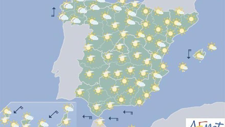 Mañana, lluvias débiles en Galicia y despejado en el resto de España