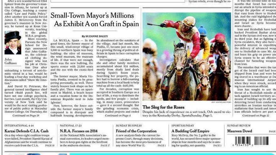 Portada de la edición dominical del New York Times con la información sobre la corrupción en España