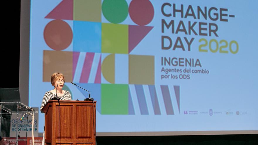 La rectora de la Universidad de La Laguna, Rosa María Aguilar Chinea durante el 'Changemaker Day'