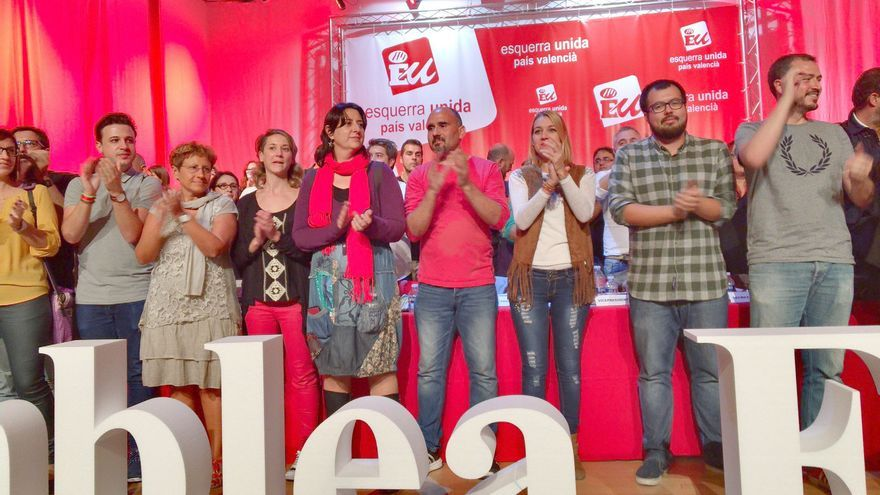 David Rodríguez (en el centro), nuevo coordinador de EUPV, junto a Rosa Pérez Garijo (a su derecha)