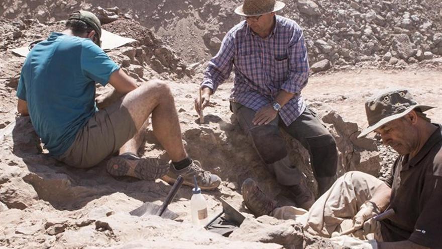 Investigadores en el yacimiento paleontológico de Morella