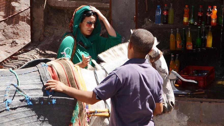 Peregrina llegando al Santuario de Sidi Chamharouch. (Cedida a CA).