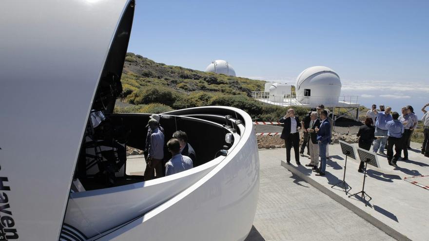 Acto académico de la puesta en marcha del nuevo telescopio robótico GOTO en el Observatorio del Roque de los Muchachos (Garafía, La Palma). Crédito: Elena Mora (IAC).