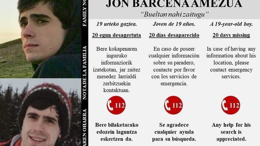 La familia de Jon Bárcena reitera su petición de ayuda y recuerda que se cumplen 20 días de su desaparición
