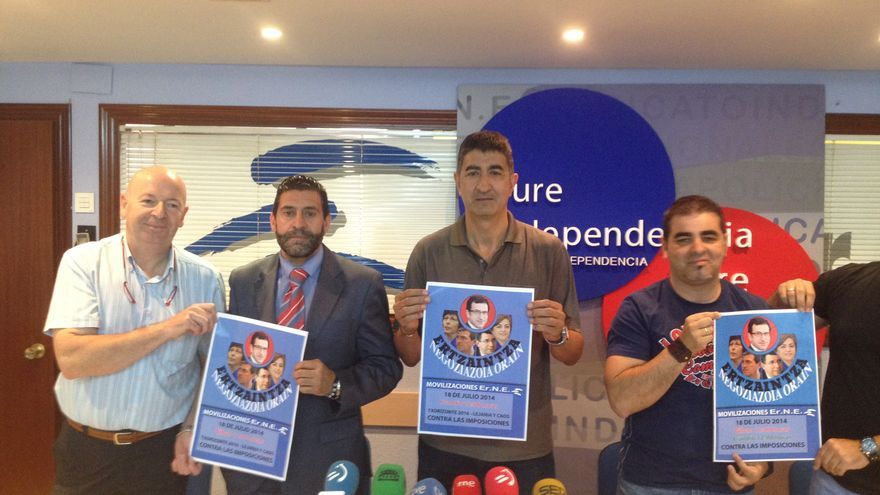 Los responsables del sindicato Erne, en la comparecencia en la sede del sindicato.