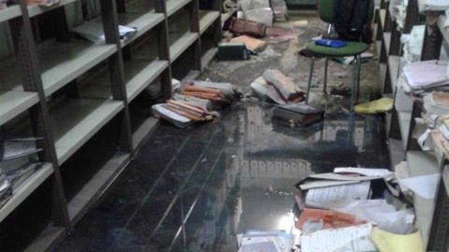 Inundación de los archivos de los juzgados de Torrejón (Madrid).