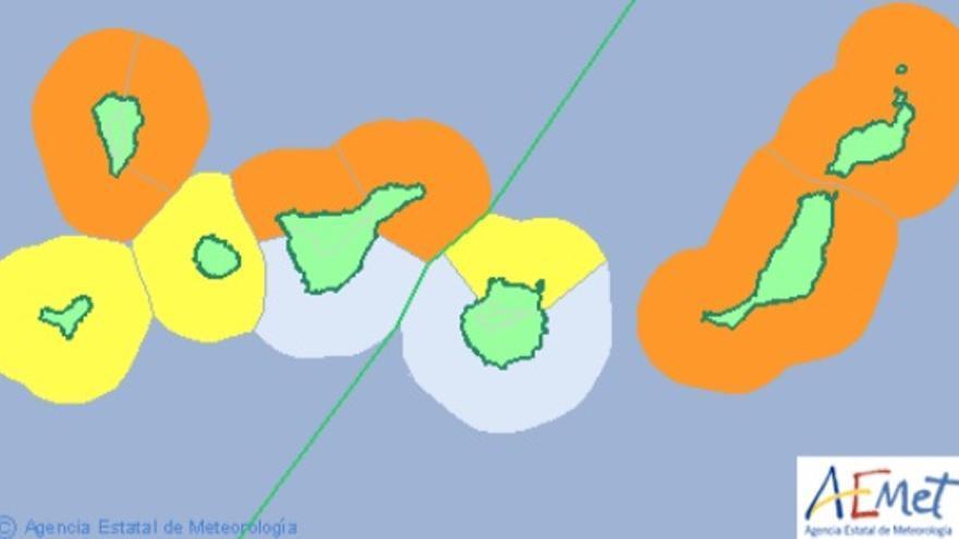 Avisos meteorológicos para Canarias este lunes