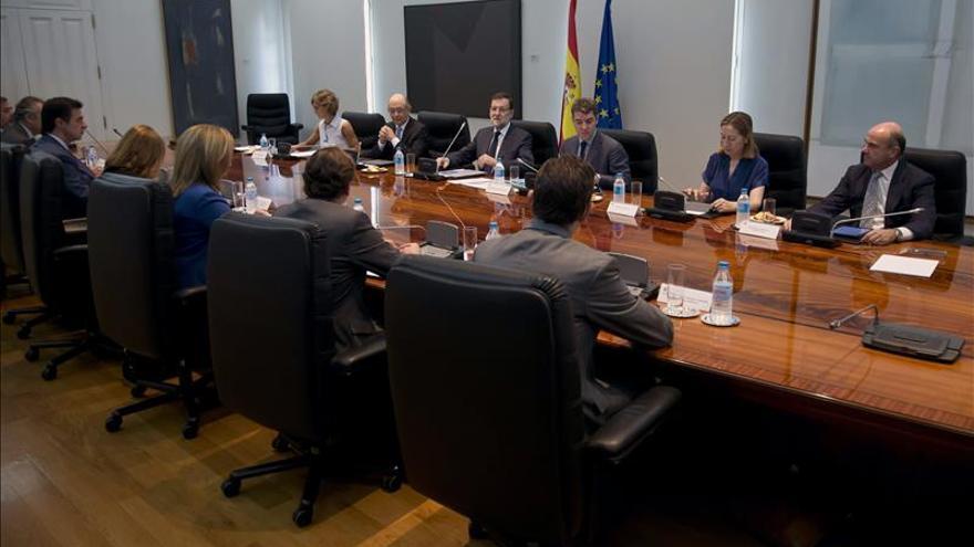 Imagen cedida por Moncloa de la reunión de la Comisión Delegada de Asuntos Económicos celebrada esta mañana de forma extraordinaria.