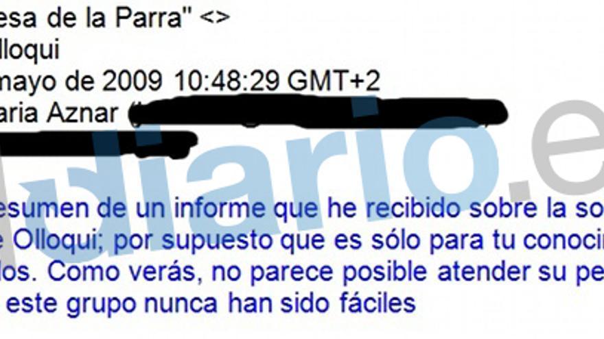 En el email de mayo, Blesa cuenta a Aznar que no ve muchas posibilidades en la operación.