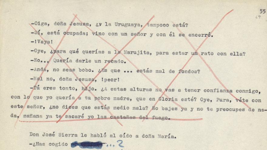 La colmena, de Camilo José Cela, con tachaduras en rojo de la censura
