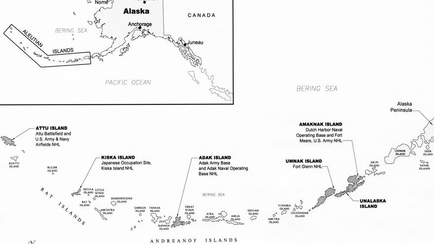 Mapa de la Campaña de las Islas Aleutianas, 1942-1943. (National Park Service, US Department of Interior; https://www.nps.gov/aleu/planyourvisit/maps.htm).
