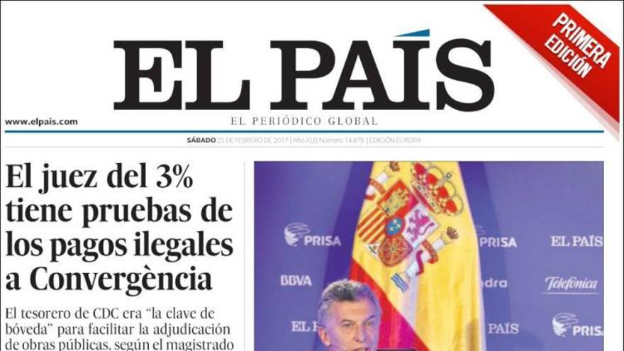 Portada de El País del 25 de febrero.