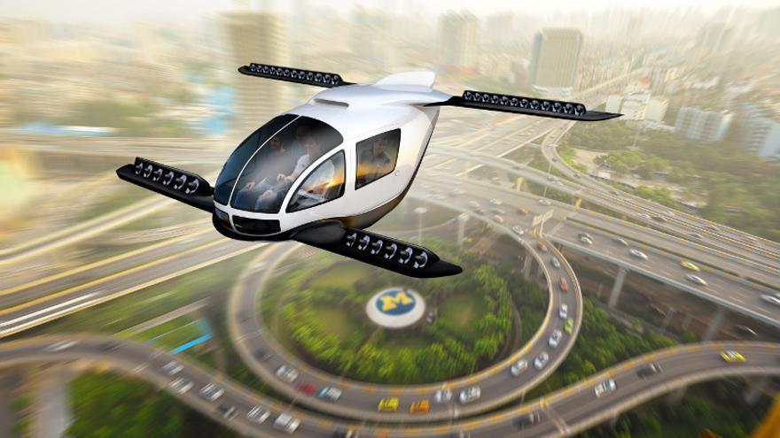 Recreación de un taxi volador sobre un centro urbano.