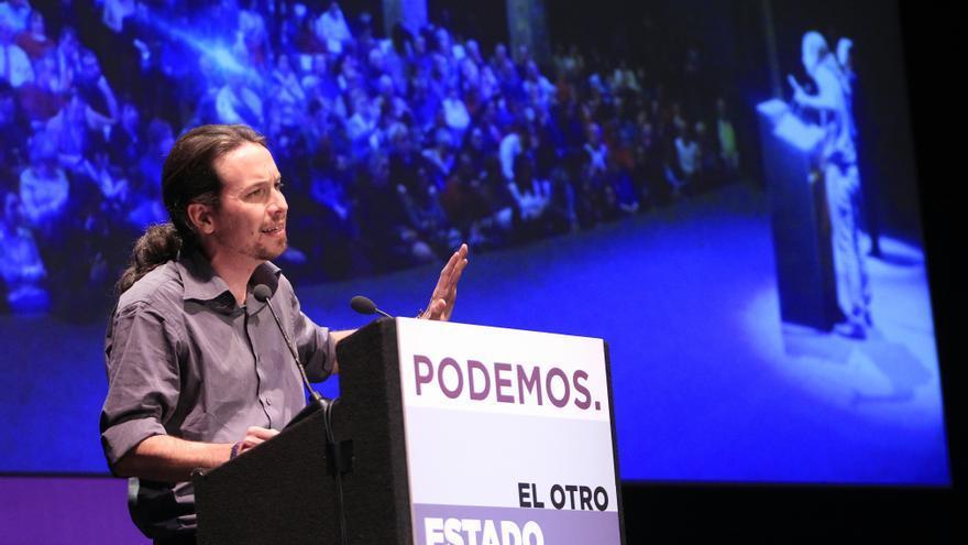 Pablo Iglesias en el acto de Podemos sobre el debate del estado de la nación / Marta Jara