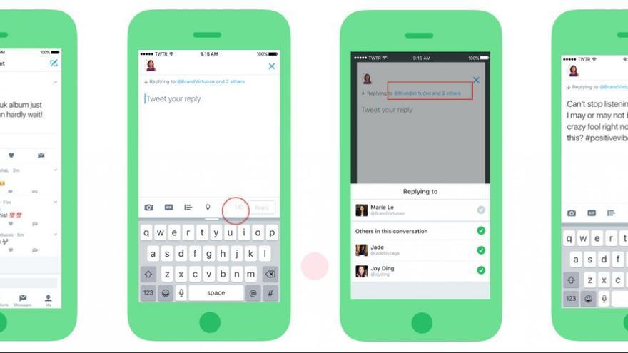 El usuario al que se responda aparecerá sobre el texto del tuit en lugar de en la caja de texto